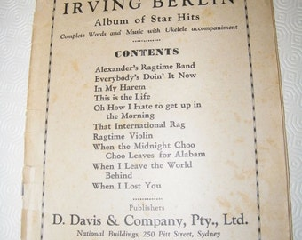 Vintage Sheet Music - Irving Berlin, Albumn of Star Hits, no cover