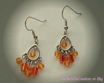 Orange Chandelier Earrings, Orange Earrings, Handwired Earrings, Trendy Earrings