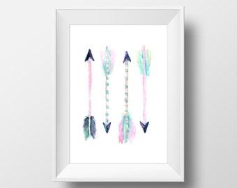 Watercolor Arrows Print