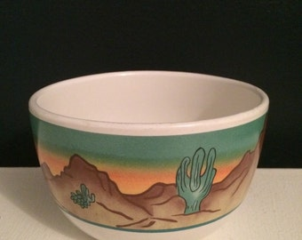 Vtg cactus design planter / flower pot / desert scene bowl / indoor gardening