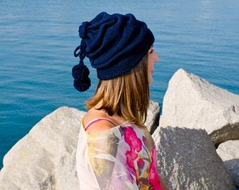 Navy blue slouchy beanie hat, winter hat, crochet womens hat, pom pom hat, hats for women, crochet beanie, womens knit hat, womens caps