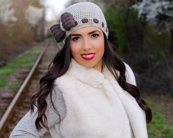 Beige crochet bow hat, hat with bow, womens knit hats, womens beanies, winter hats for women, ribbon hat, ladies hats, crochet womens hat