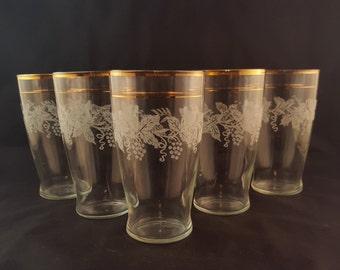 Gold Rimmed Grapevine Glasses - Set of 5