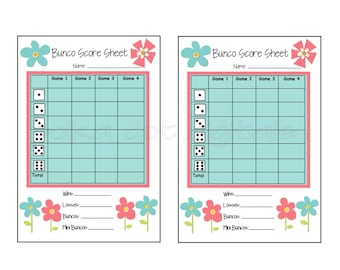 Tally sheet bunco etsy for Free bunco scorecard template