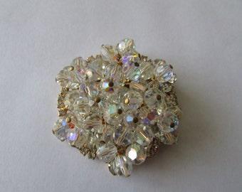 Vintage Aurora Borealis Crystal Rhinestone Brooch Gorgeous AB Pin