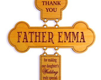 Wedding Officiant Thanks Gift From the Bride's Parents,Priest Appreciation Gift From Parents,Custom Wedding Parent to Celebrant Cross,DWO008
