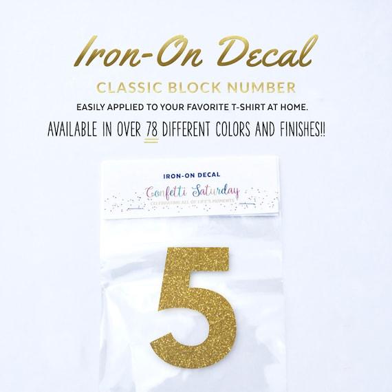 Number 5 Iron On Decal Kids Birthday T-Shirt Kids Iron-On