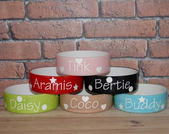 Small Hand painted personalised ceramic dog puppy cat kitten polka design bowl dish feeder