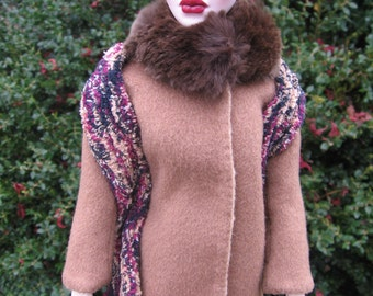 Reversible Wool Coat (With Scarf) for Evangeline Ghastly And 16 Inch Tonner Dolls like Tyler Wentworth