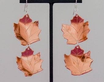 Copper Maple Leaves Earrings