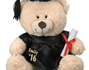 Personalized Teddy Bear Plush Graduation Cap & Gown 11 inch Soft and Cuddly Plush Teddy Bear