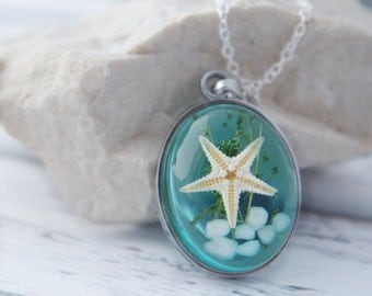 Ocean Necklace Real Starfish Necklace Nautical Necklace Starfish Pendant Blue Nature Resin Necklace  Starfish Necklace Sea Necklace Gift