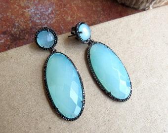 Aqua Blue Chalcedony Sterling Silver Statement Earrings, Gemstone Earrings, Long Blue Earrings with Cubic Zirconia