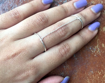 925 Silver Slave Ring/ Double Chain Ring / Silver Ring / Sterling Silver Knuckle Ring/ Stacking Ring