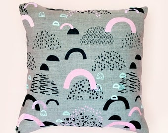 Screen Printed Hill's & Burrows Cushion Cover Natural Linen