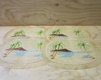 Set of 4 Vintage Handmade Burlap/Jute Placemats