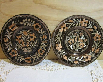 Pair of Beautiful Hand-Hammered Copper Wall Decor Plates