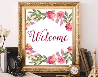 Welcome Sign, Printable Art Print, Welcome Print, Typography Print