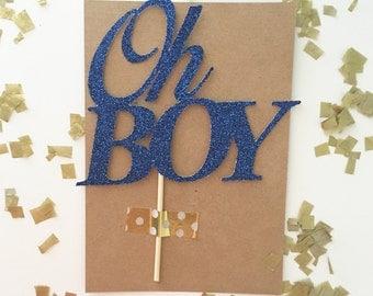 "Glitter ""Oh Boy"" Cake Topper, Smash Cake Topper, Baby Shower, Gender Reveal, It's a boy, Team Blue, Oh Baby, Little Gentleman, Oh Boy"