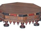 Vintage Wood Octagonal Bajot, low table , display table, low stool