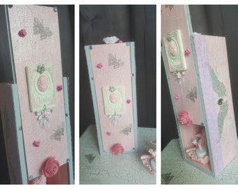 Box bottle decorative pink/grey