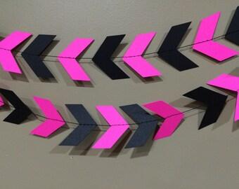 Hot Pink & Black Chevron / Arrow Garland, chevron banner, chevron garland, paper garland, party decor, pink and black, arrow/chevron banner