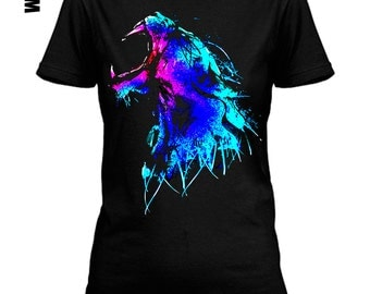 Men or women #color  #furious #saber #tooth #tiger print on #black #lose or #tight #cotton #t-shirt available big sizes - #dream #tee