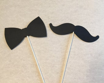 Set Of 2 Mustache And Bow Tie Centerpieces   Cake Toppers, Baby Shower,  Little