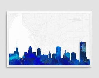 Buffalo New York Cityscape and Street Map Blue Watercolor Art Print Office or Home Wall Decor