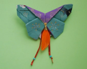 Barrette Butterfly origami in fabric