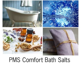 PMS Comfort Bath Salts, Natural Mineral Salts and Essential Oils for PMS Relief -- 16oz Bag