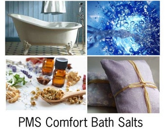 PMS Comfort Bath Salts, Natural Mineral Salts and Essential Oils for PMS Relief -- 160z Bag