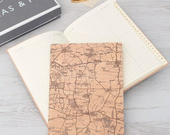 Personalised Vintage Map Address Book