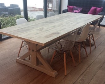Driftwood Dove & Grey Dining Table Wooden Dining table- Handmade in England