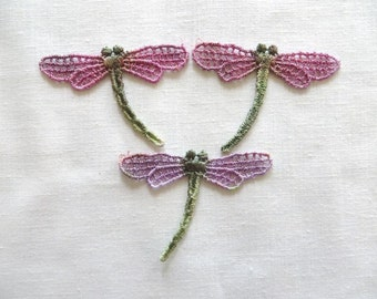 Hand dyed Dragonfly Applique Venise Lace 6001d