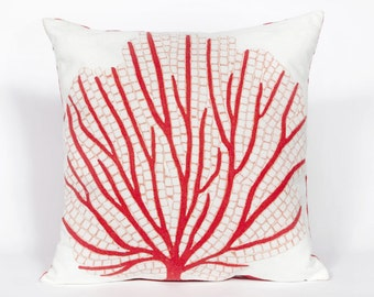 Indoor Outdoor Beach Theme Handmade Decorative Throw Pillow - Red Coral Reef Fan on White - FREE SHIPPING!!