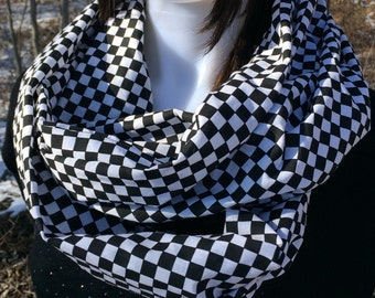 Racing Scarf, Racing Outfit, Race Day Clothes, Race Infinity Scarf, Checkered Flag, Race Car, Nascar Loop Scarf Race Fan Checkered