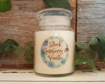 Black Raspberry & Vanilla Soy Candle - Hand Poured, Sml Apothecary Jar, Melbourne Made
