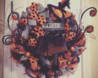 Halloween Wreath, Witch Wreath, The Witch is In Wreath, Creepy Wreath