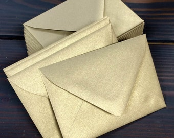 50 Gold Leaf Metallic Euro (Pointed) Flap Envelopes - A7, A2, A1