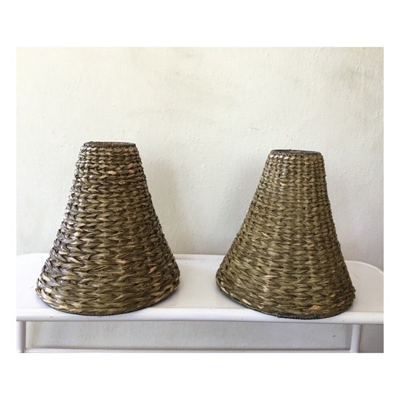 lamp shades vintage rattan bell shaped lamp shades rustic lamp. Black Bedroom Furniture Sets. Home Design Ideas