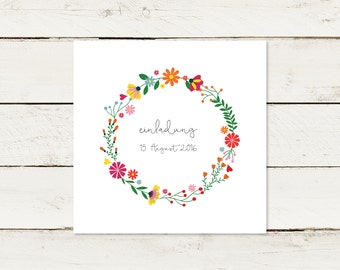 Wedding invitation   Square   Flower wreath