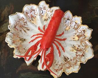 Antique Lobster Dish / Porcelain, Gold-Gilt Divided Serving Dish, c1910