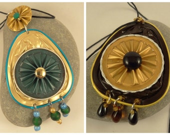 Necklace from recycled Nespresso capsules brown and gold.