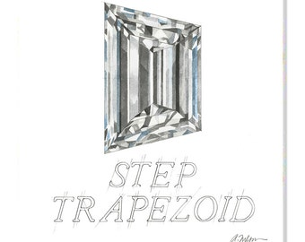 Step Trapezoid Diamond Watercolor Rendering printed on Canvas