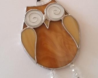 Stained Glass Owl Suncatcher, Amber Glass Owl, Quirky Owl Suncatcher, Handmade, Window Decoration