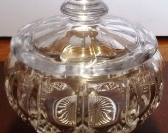 Art Deco Pressed Glass Lidded Bowl