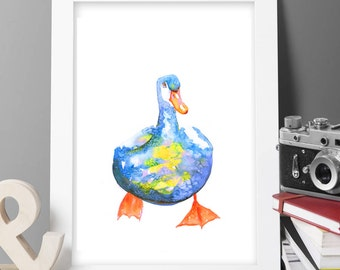 Buy 2 Get 1 FREE! goose duck bird painting print Original LIMITED Edition Signed Watercolour Thick 300 gsm farm animals posting worldwide