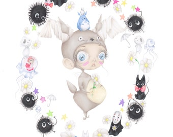Ghibli Miyazaki pop surrealism art print
