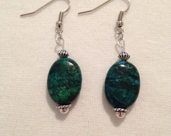 Green Blue Chrysocolla Gem Stone earrings